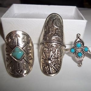 Lot of 3 Silver Costume Southwest Rings Size 5 & 6